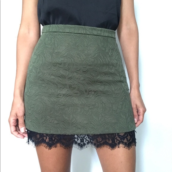 Topshop Dresses & Skirts - Topshop Olive Textured Lace Trim Mini Skirt